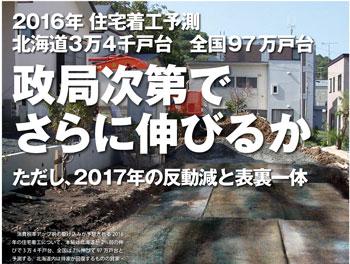 北海道3万4千戸、全国97万戸.2016年新設住宅着工予測
