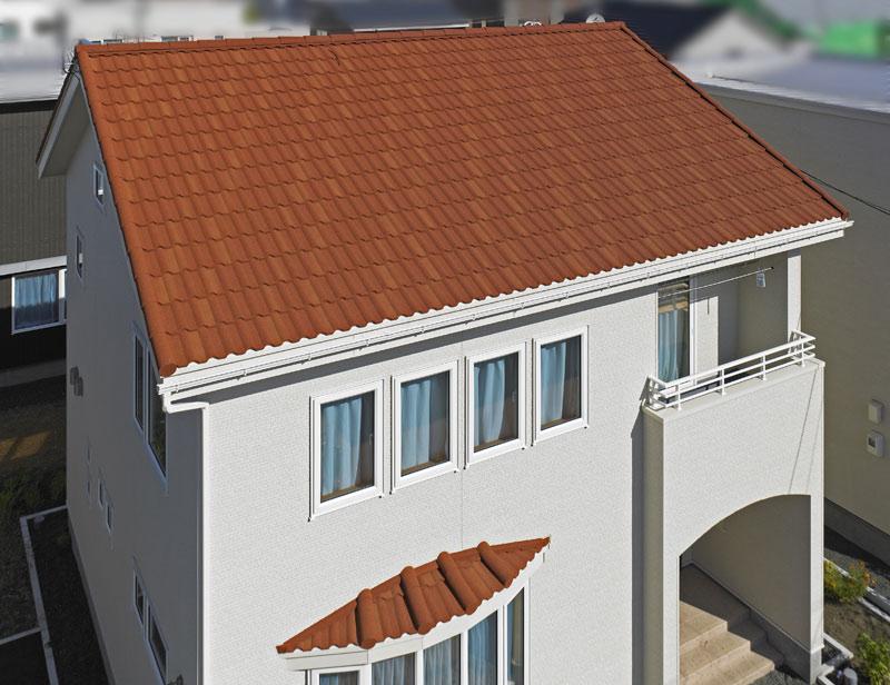 デクラミラノは、かわいいお家にもマッチする。色はカッパーレッド